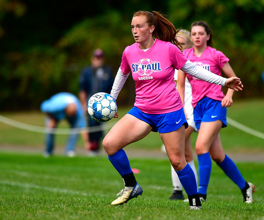 10/12/2019 Mike Orazzi | StaffrSt. Paul's Sophia Gerst (10) during girls soccer with Woodstock Academy in Bristol on Saturday.