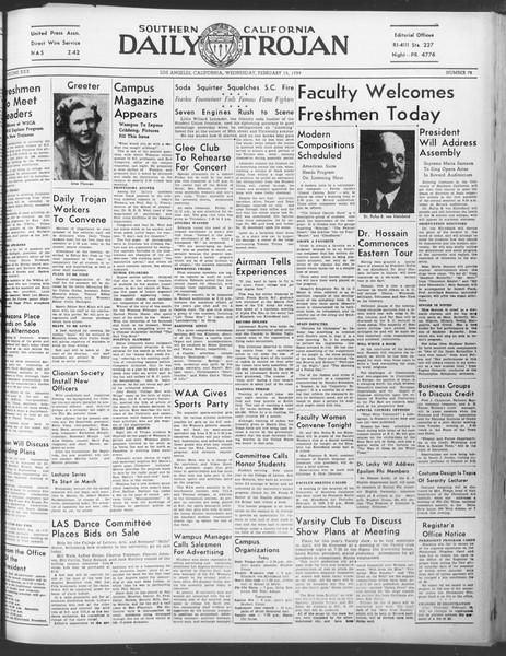 Daily Trojan, Vol. 30, No. 79, February 15, 1939