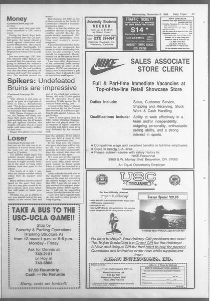 Daily Trojan, Vol. 107, No. 45, November 09, 1988