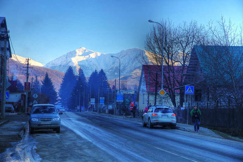 The town of Krasnaya Polyana, Russia. It's not much to look at before the Olympic Games, but the skiing is pretty good on the slopes in the background. (HDR)