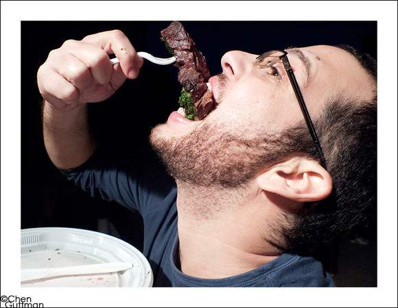 Ohad and the steak posing #2