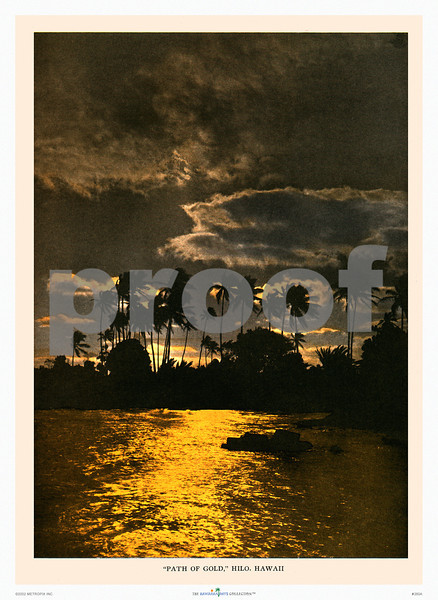 260: 'Path Of Gold, Hilo, Hawaii' Paradise of the Pacific Photograph, ca 1928 One of our more popular photographs. Looks great on your wall. (PROOF watermark will not appear on your print)