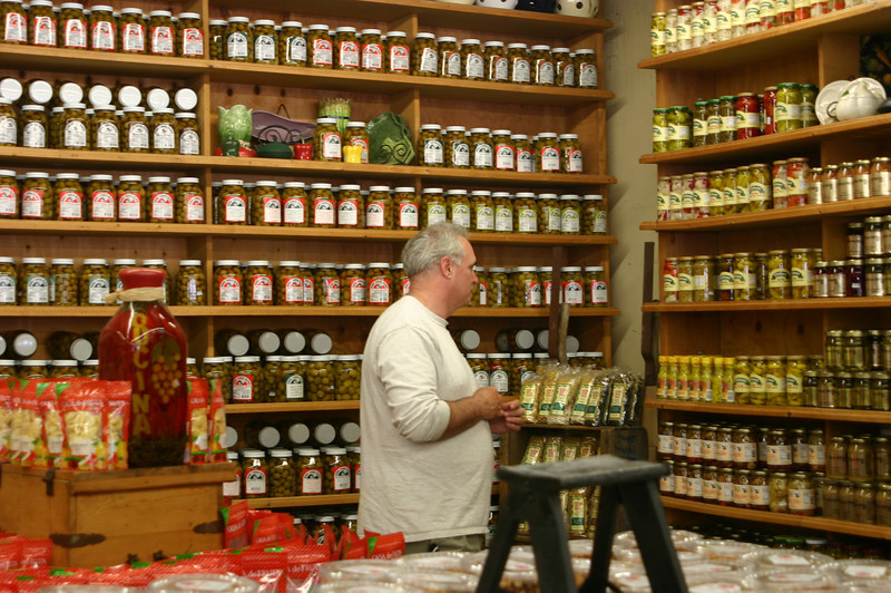 Paul evaluating the garlic olives, garlic pimentos, pimento garlics, garlic olive pimentos...