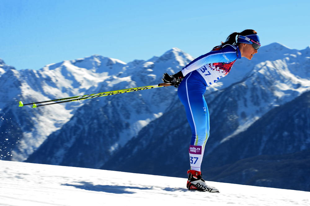 . Aino-Kaisa Saarinen of Finland competes in the Women\'s 10 km Classic during day six of the Sochi 2014 Winter Olympics at Laura Cross-country Ski & Biathlon Center on February 13, 2014 in Sochi, Russia.  (Photo by Harry How/Getty Images)