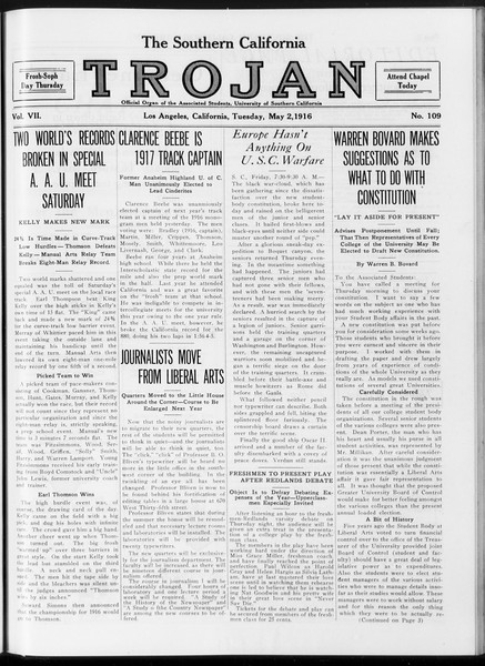 The Southern California Trojan, Vol. 7, No. 109, May 02, 1916