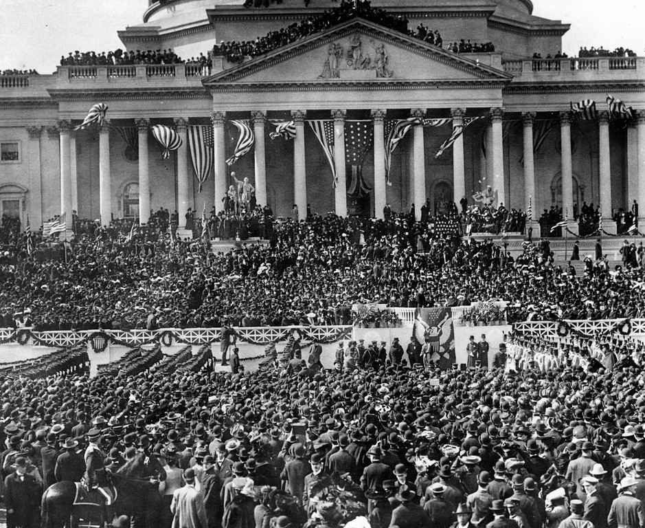 . ** FILE ** In this March 4, 1905 file photo, President-elect Theodore Roosevelt takes the oath of office on the east portico of the U.S. Capitol during his inauguration ceremony in Washington. (AP Photo )