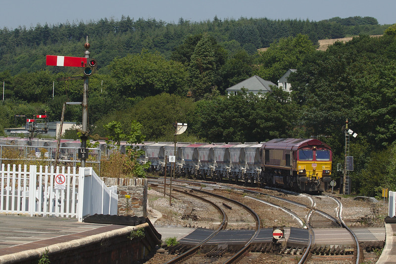 DB Schenker 66031 on the china clay empties 621N Fowey Dock Carne Point to Goonbarrow Jn