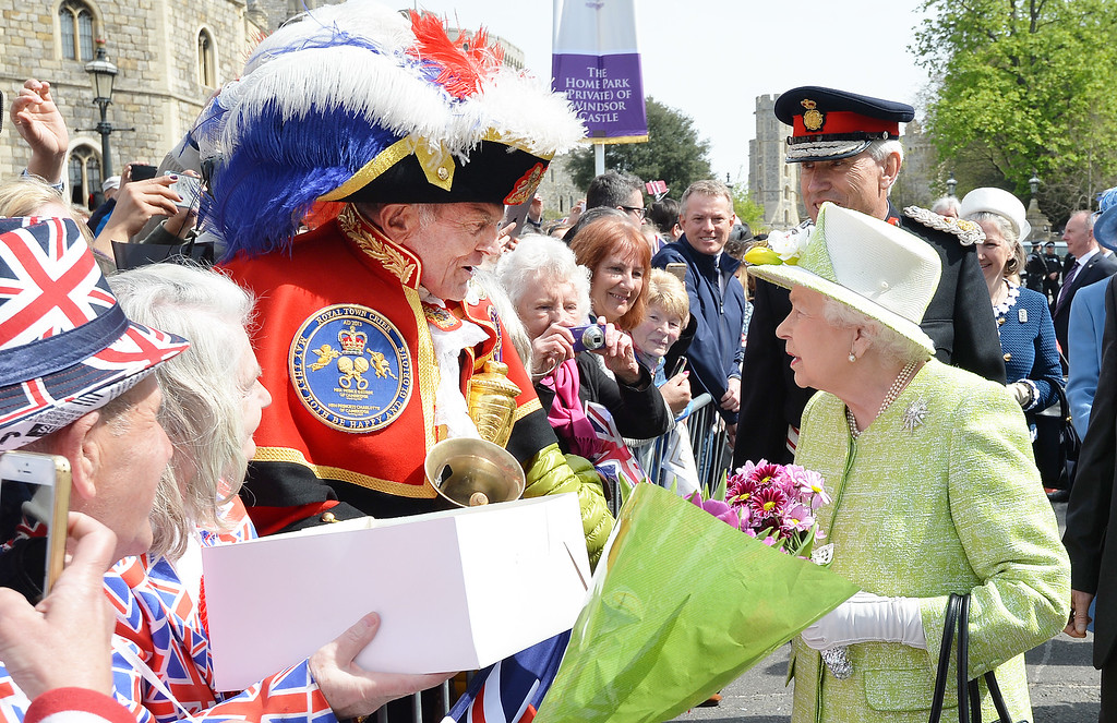 . Queen Elizabeth II meets the public on her 90th Birthday Walkabout on April 21, 2016 in Windsor, England. Today is Queen Elizabeth II\'s 90th Birthday. The Queen and Duke of Edinburgh will be carrying out engagements in Windsor.  (Photo by John Stillwell - WPA Pool/Getty Images)