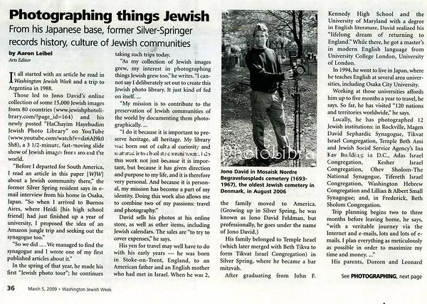 Washington Jewish Week. Washington, D.C., USA. March 5, 2009