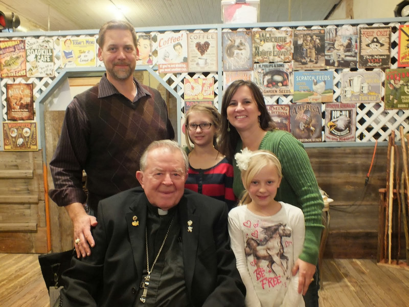 Bishop Emeritus John W. Yanta, with the Gouge family, our wonderful hosts!