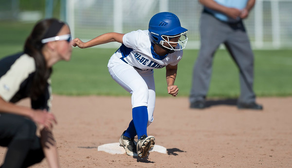 06/03/19 Wesley Bunnell   Staff Southington softball defeated Trumbull in a semifinal Class LL game at DeLuca Field in Stratford on Monday afternoon. Gianna Perugini (22) crouches during a pitch looking to advance to third base.