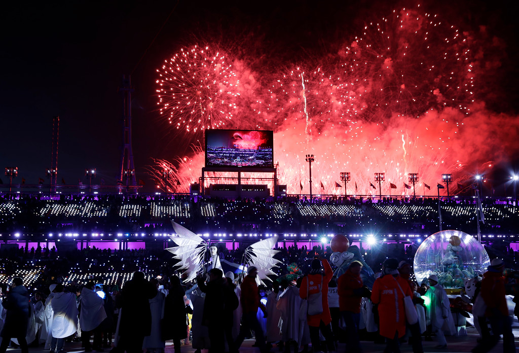 . Fireworks explode during the closing ceremony of the 2018 Winter Olympics in Pyeongchang, South Korea, Sunday, Feb. 25, 2018. (AP Photo/Natacha Pisarenko)