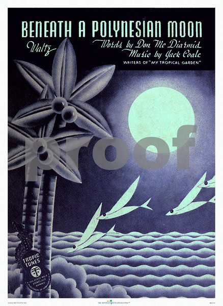 """201: Poster or matted print of vintage Hawaiian music cover art - """"Beneath a Polynesian Moon."""" (PROOF watermark will not appear on your print)"""