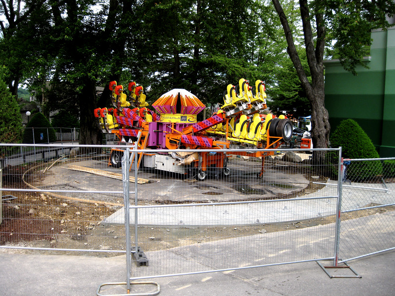 The new Wave Blaster ride was on site, though not set up. This is to the left of the Midway Stage.
