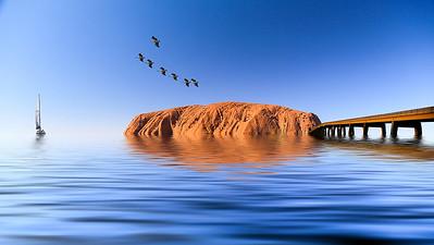 George Skarbek - Pelicans over Uluru