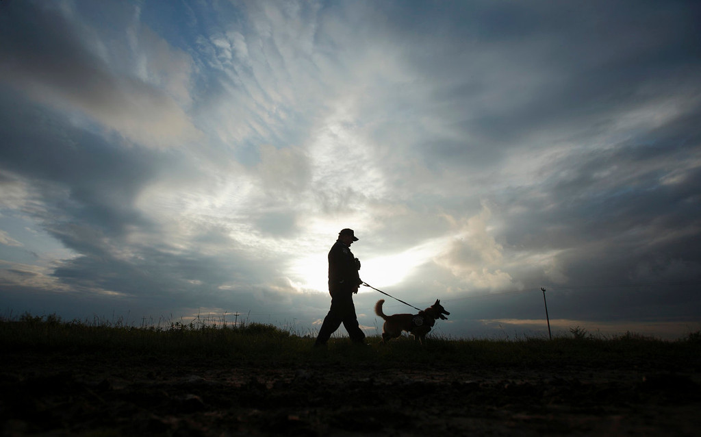. A border police officer and his dog patrol the area near the Croatia-Serbia border in Nijemci, east Croatia, June 5, 2013. Croatia became the European Union\'s 28th member on July 1 and its roughly 1,400 km of land border with non-EU neighbors Bosnia, Serbia and Montenegro will become the bloc\'s new external frontier. Croatia lies on the notorious Balkan smuggling route, used for transporting illegal migrants and drugs from the Middle East and Africa into western Europe, and its border police have modernized their equipment to include thermal vision cameras and infrared binoculars to improve control. Picture taken June 05, 2013.  REUTERS/Antonio Bronic