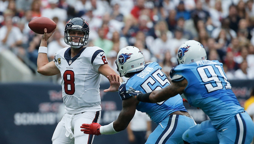 . Matt Schaub #8 of the Houston Texans drops back to pass in the first half against the Tennessee Titans  at Reliant Stadium on September 15, 2013 in Houston, Texas.  (Photo by Scott Halleran/Getty Images)