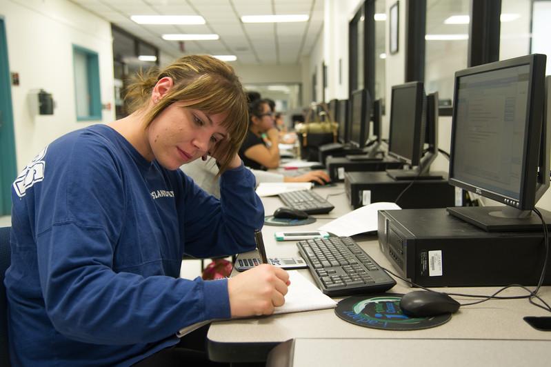 Amber McCarn work on her teaching math homwork in CCH.