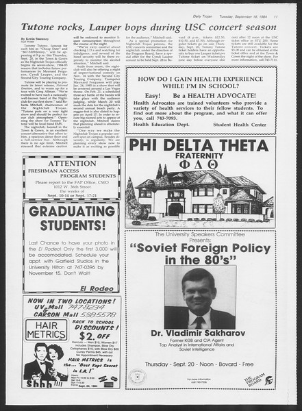 Daily Trojan, Vol. 97, No. 11, September 18, 1984