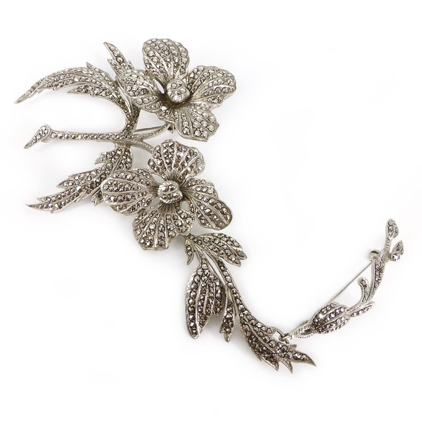 Vintage 1940s Silver Marcasite Detachable Flower Brooch