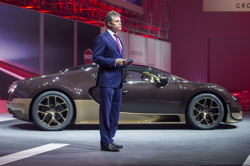 . Bugatti President Wolfgang Schreiber presents the new Bugatti Rembrandt Veyron Grand Sport Vitesse during the Volkswagen Group preview ahead of the opening day of the 84th International Motor Show which will showcase novelties of the car industry on March 3, 2014 in Geneva, Switzerland.  (Photo by Harold Cunningham/Getty Images)