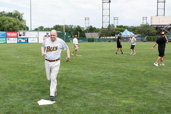 07/02/19 Wesley Bunnell | Staff The New Britain Bees welcomed group home members to New Britain Stadium as part of the Beautiful Lives Project on Tuesday July 2, 2019.Bees players and coaches played wiffle ball games on the outfield grass with the participants. Bill Lewis from Journey Found comes home to score.