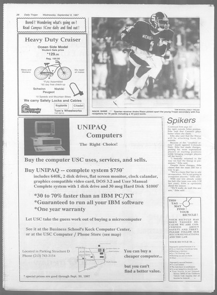 Daily Trojan, Vol. 105, No. 5, September 09, 1987