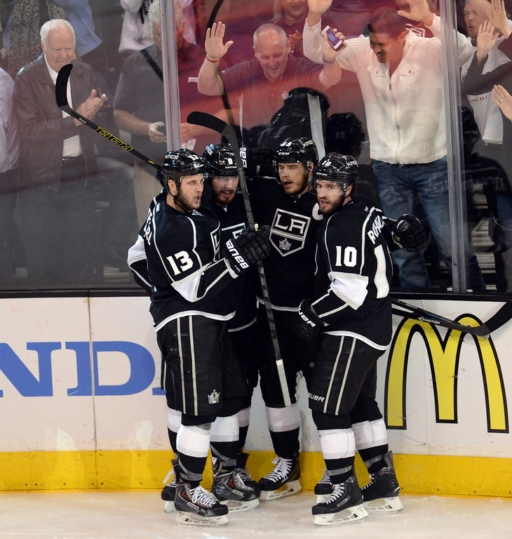 . The Kings� Drew Doughty #8 is congratulated  on his third period goal during Game 6 of the Western Conference finals at the Staples Center on Friday, May 30, 2014. The Blackhawks beat the Kings 4-3. (Photo by Hans Gutknecht/Los Angeles Daily News)