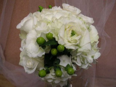 White Hydrangea -roses, beans $45