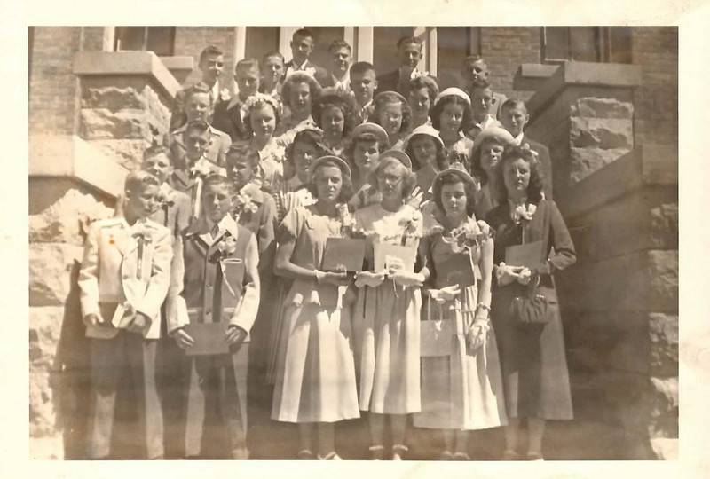 . Writes THE REDBIRD: �With graduations approaching, here is a picture of the 1949 graduating class of St. Raphael grade school in Montgomery, Minn. Notice the girls� Sunday �go-to-meeting� dresses.�