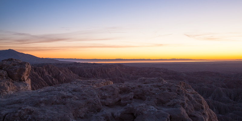 Sunrise from Fonts Point with the Anza Borrego Badlands & the Salton Sea in the background.