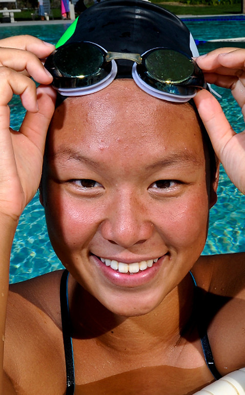 . Sonia Wang has been named to The Sun\'s All-Area Swim Team. Wang is a sophomore at Upland High School. Rachel Luna staff photographer The Sun.