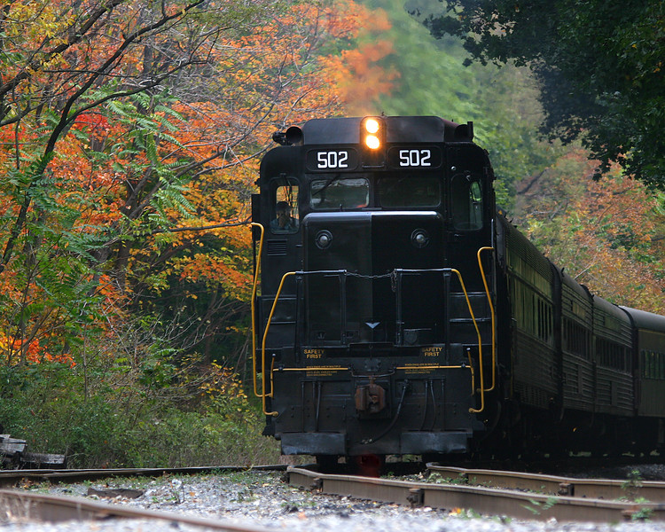 Diesel #502 pulls passengers through the autumn foliage Western Maryland Scenic Railroad