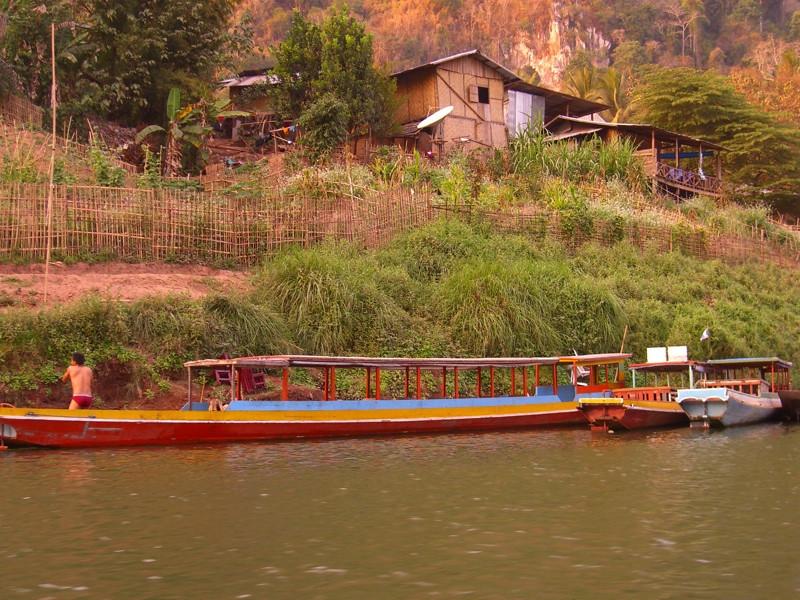 Boats at a Village Shore - Luang Prabang, Laos