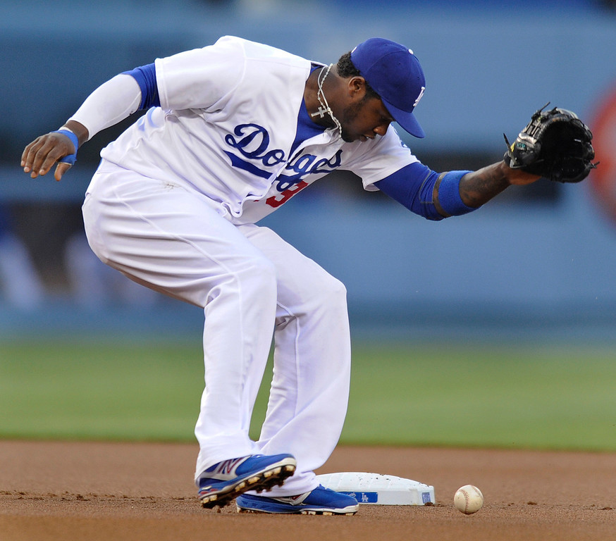 . Hanley Ramirez could not get his glove on a single hit by Rockies Eric Young in the first inning. The Los Angeles Dodgers played host to the Colorado Rockies in a game at Dodger Stadium in Los Angeles, CA 5/1/2013(John McCoy/Staff Photographer)
