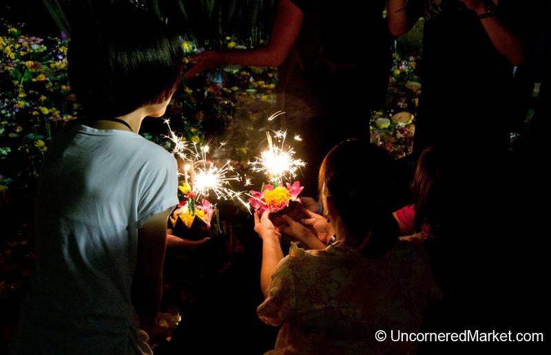 Sparklers & Reflection during Loi Krathong Festival - Bangkok, Thailand