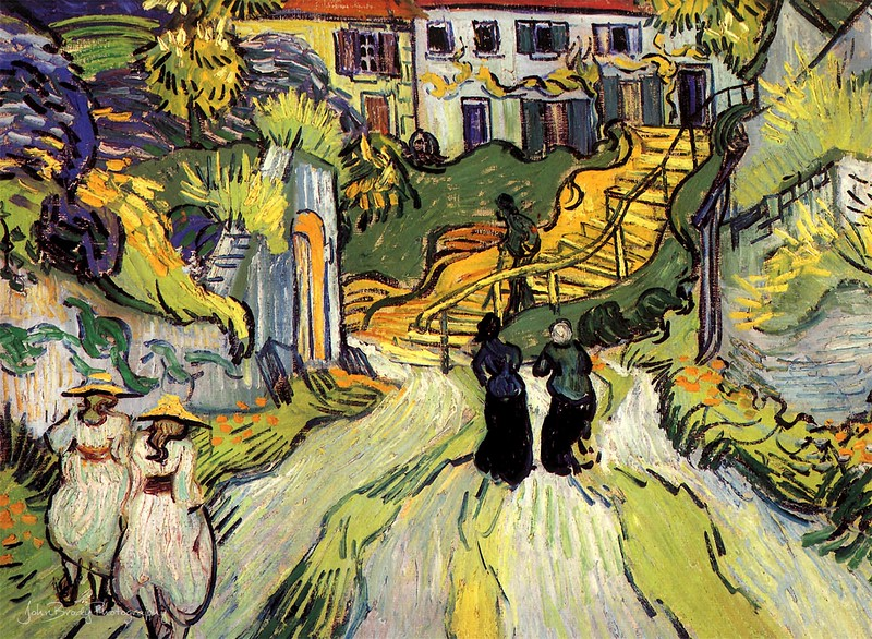 Vincent van Gogh - Stairway at Auvers - Two Women - Oil on canvas - Auvers-sur-Oise late May, 1890 AKA Village Street and Steps in Auvers with Figures --- JohnBrody.com - John Brody Photography