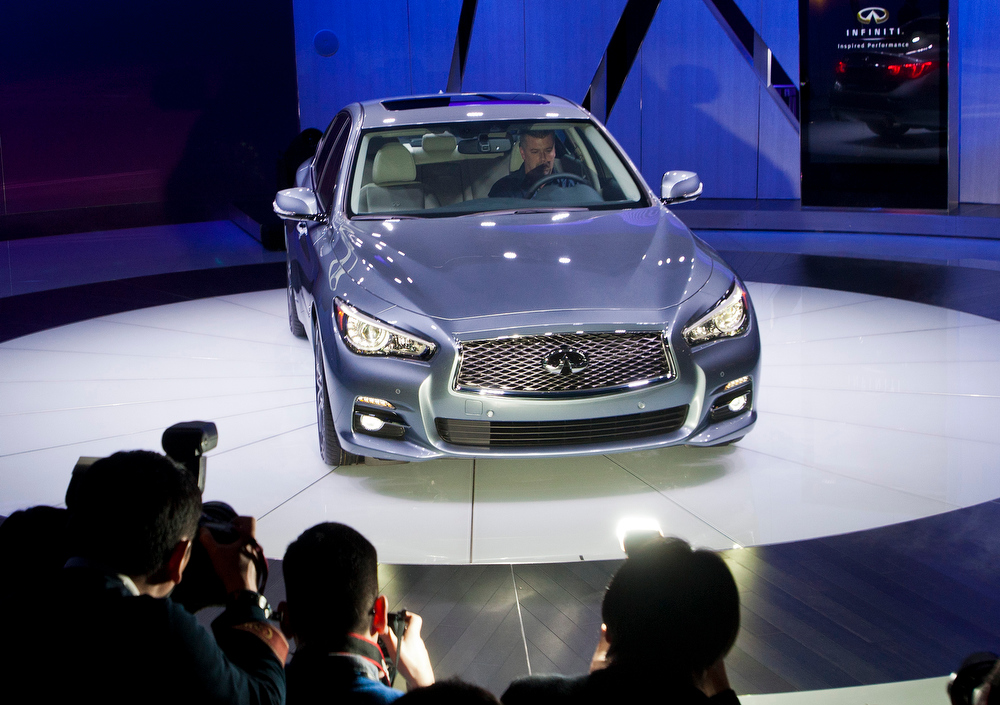 . The Infiniti Q50 sedan is introduced at the North American International Auto Show, Monday, Jan. 14, 2013, in Detroit, Mich. (AP Photo/Tony Ding)