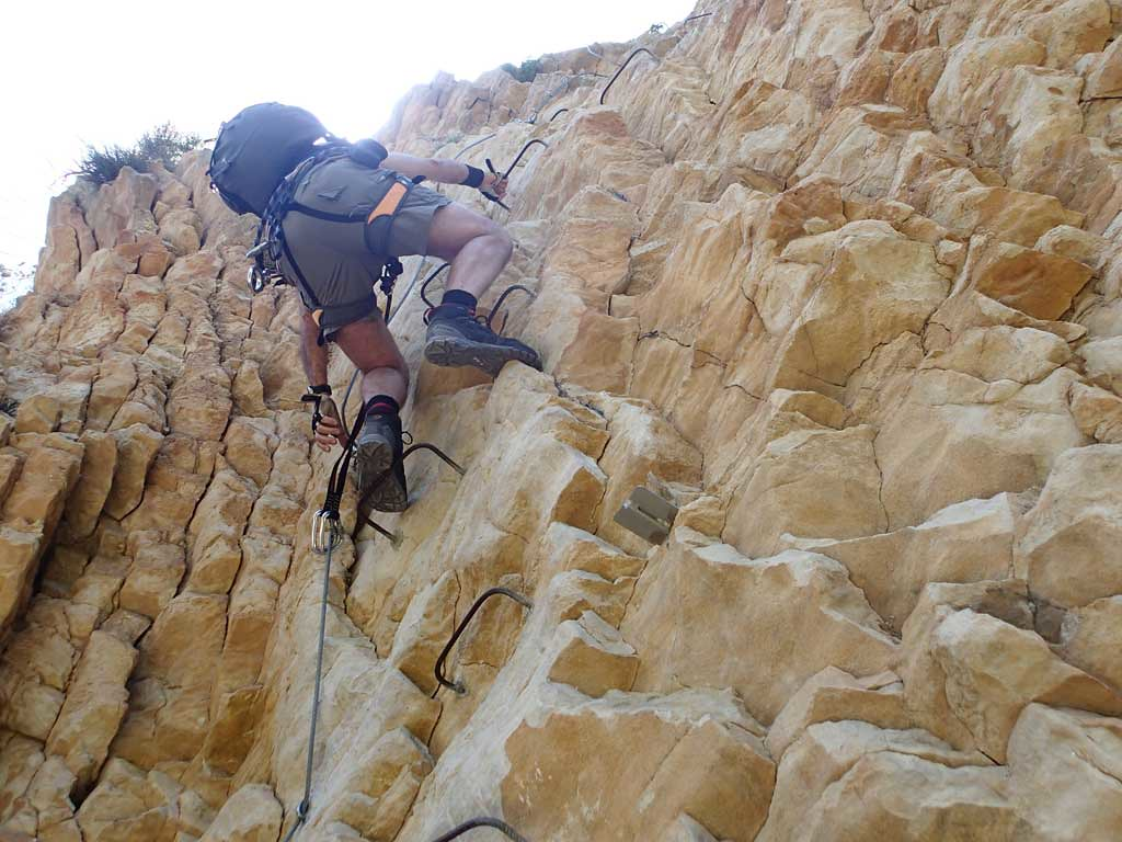 Climbing the Via Ferrata at Xorret de Cati