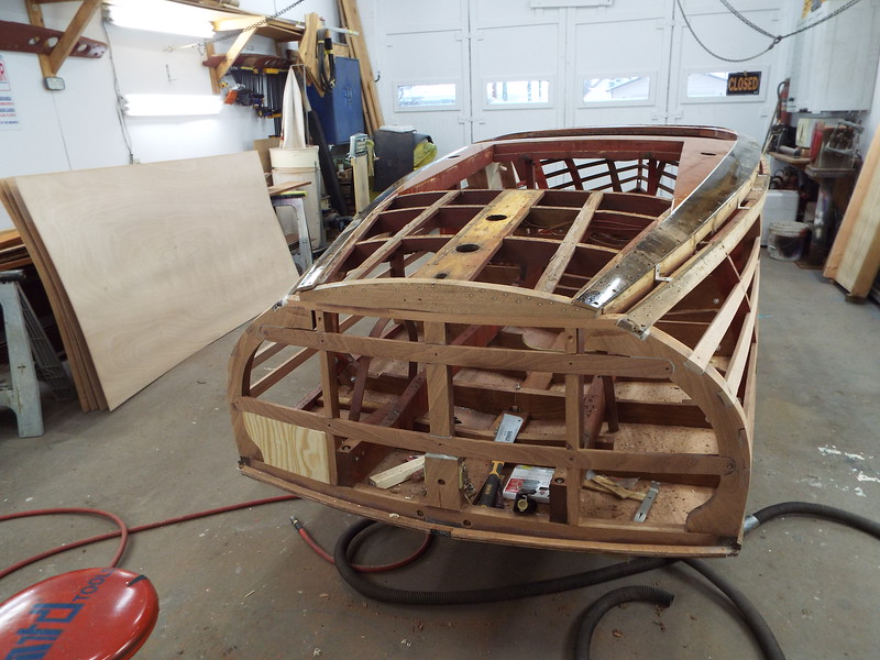 Rear deck removed, new transom deck frame installed, starting to fit the exhaust doubler.
