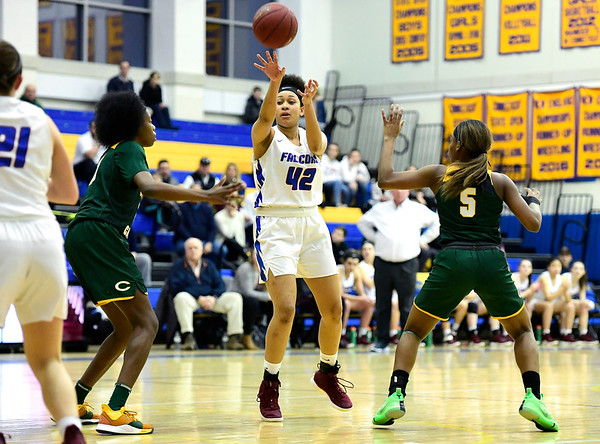 3/8/2019 Mike Orazzi   Staff St. Paul Catholic High School's Jade Udoh (42) during the Class S Semifinal girls basketball game with Trinity Catholic at Newtown High School Friday night in Newtown.
