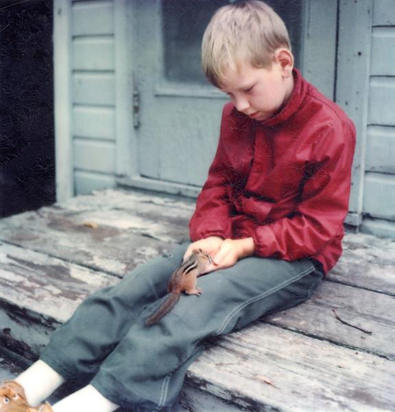 1978 Chipmunk Feeding | Kelly and friend
