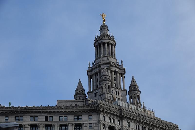 Top of the David D Dinkins Manhattan Municipal Building , 1 Centre Street, New York.