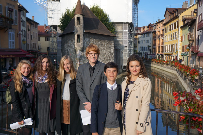 MT, Claire, Lilli, Lachlan, Hunter, and Laila in Annecy