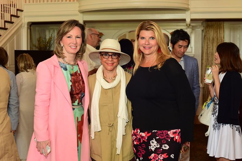 U.S. Rep. Barbara Comstock, Middleburg Film Festival Founder Sheila Johnson, and Host Sharon Virts, Cocktails at Selma Mansion, June 7, 2018, Nancy Milburn Kleck