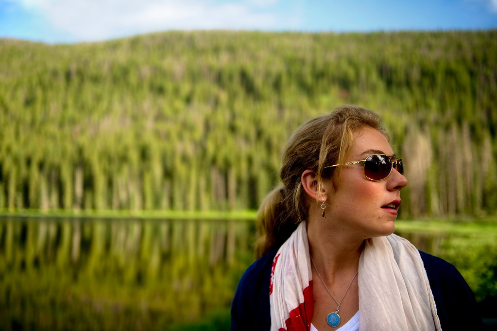 . Mikaela Shiffrin looks around as she sees Piney Lake for the first time before a photo shoot on July 15, 2013. (Photo By Grant Hindsley/The Denver Post)