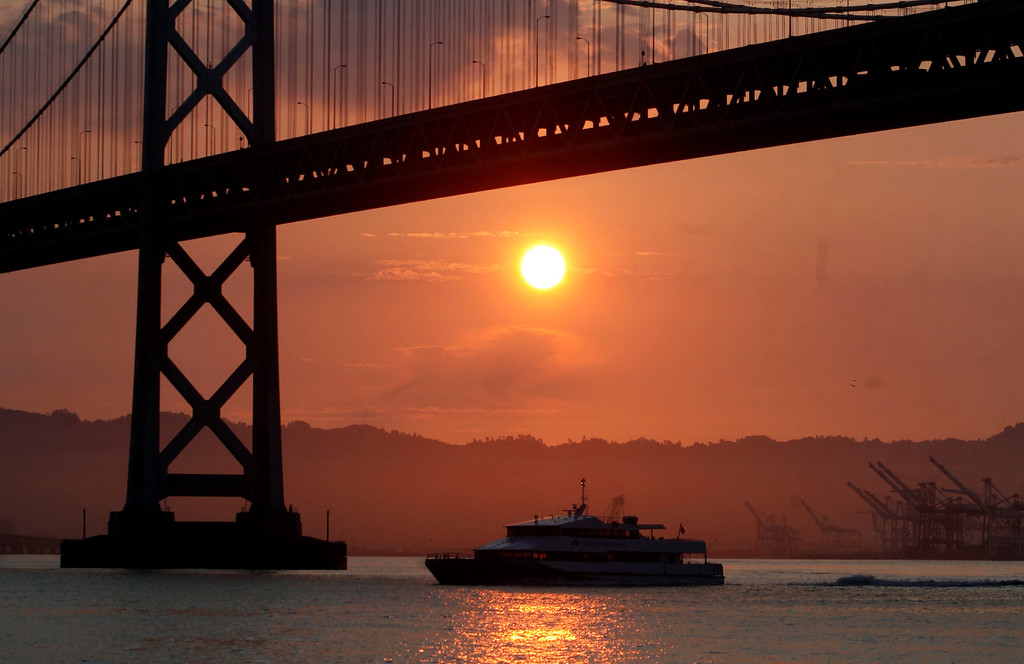 . The Bay Bridge and San Francisco Bay Ferry systems begin the work of bearing the bulk of the BART strike hobbled Monday morning commute, July 1, 2013. (Karl Mondon/Bay Area News Group)
