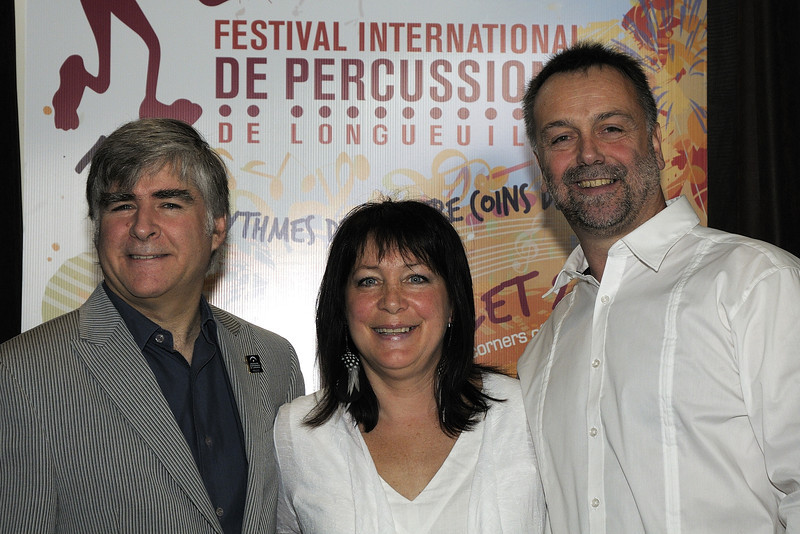 Marc David, Gilbert Lucu, France Cadieux, Festival international de percussion de Longueuil ( FIPL ), Longueuil Qc; conference de presse / press conference