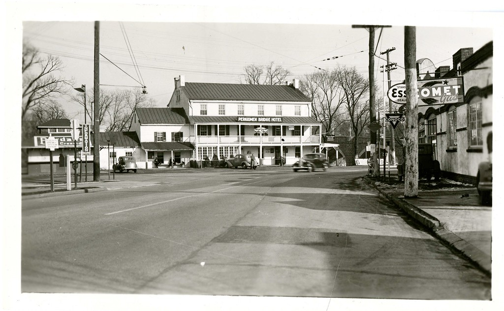 . This photo from the Historical Society of Montgomery County show the Perkiomen Bridge Hotel, which was located in downtown Collegeville. This photo was taken sometime in the 1940s or 1950s.