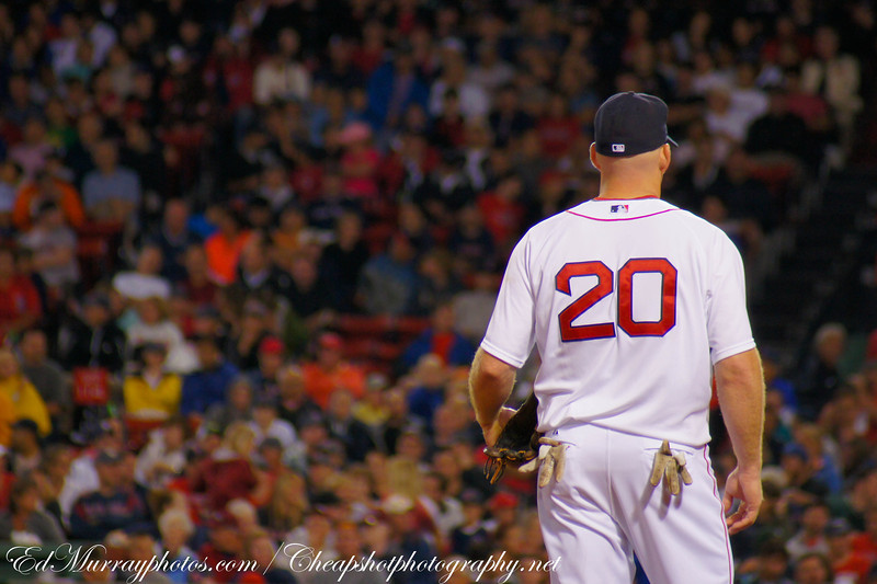 A break in the action: Red Sox 3rd baseman, Kevin Youkilis, relaxes between batters